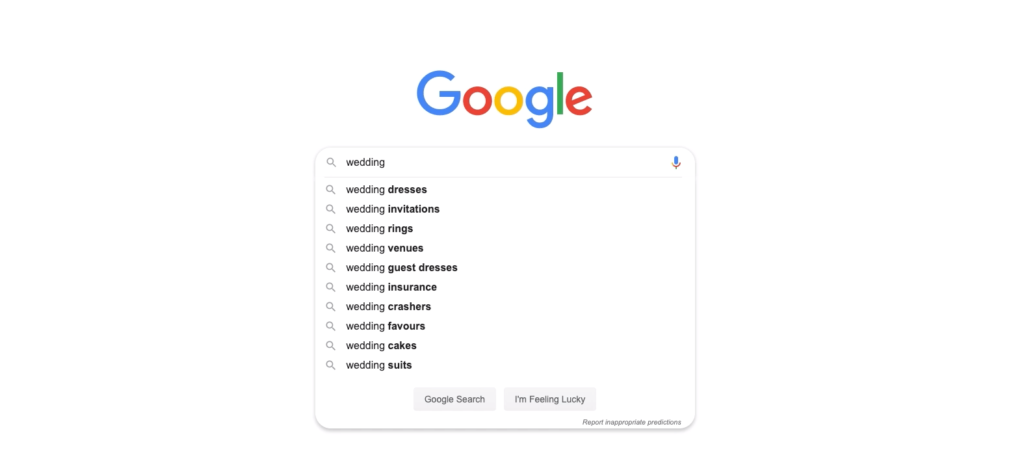 Keywords appear when searching with Google auto suggest