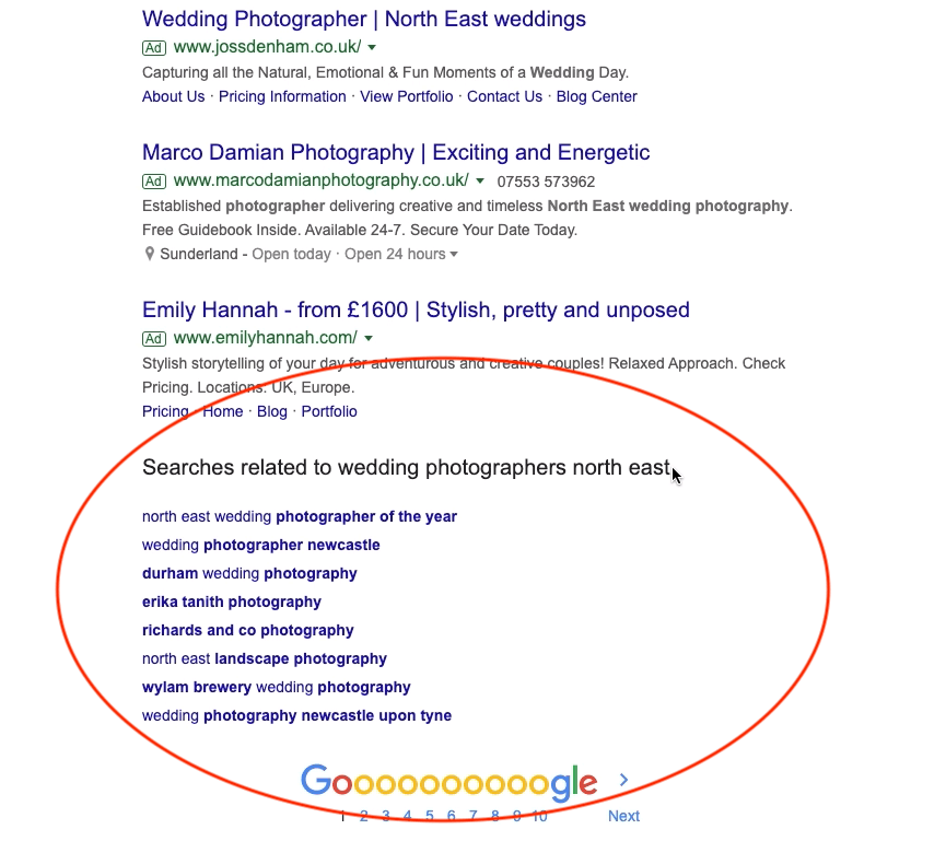 Google keyword research related searches at bottom of screen