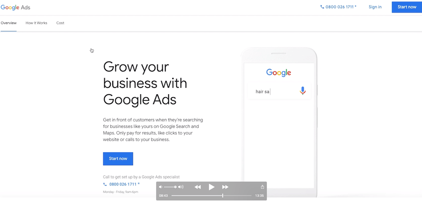 Signing into google ads