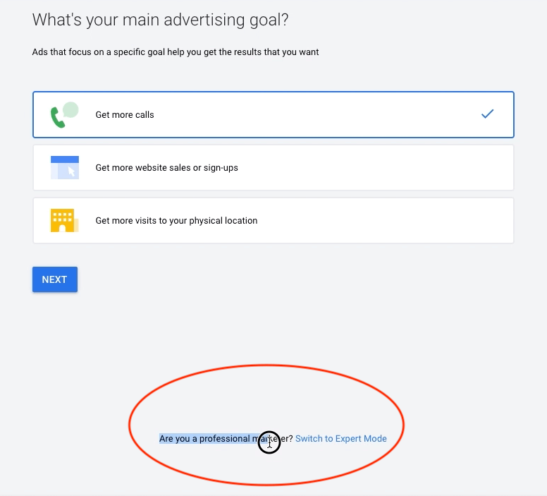 setting up google ads in expert mode