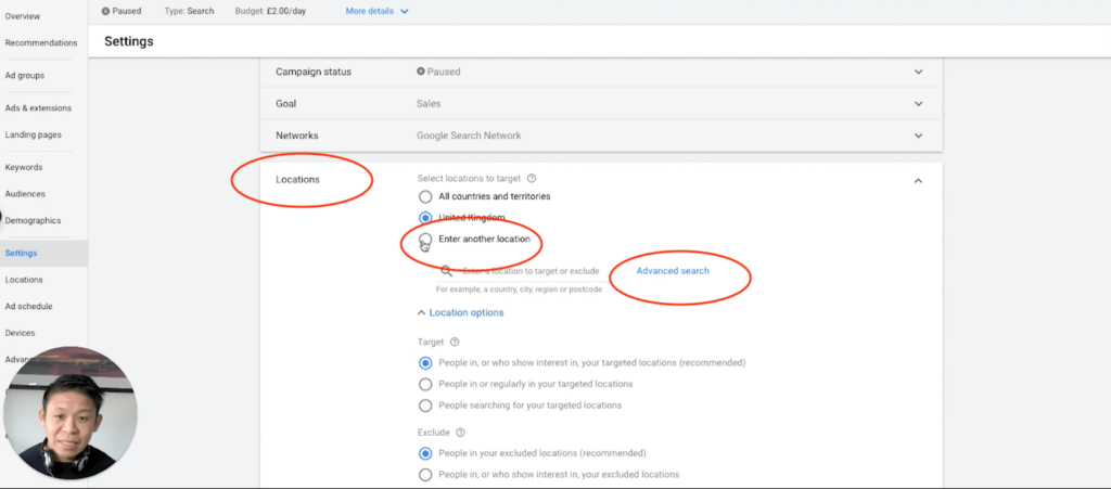 Google Ads Setting Editing Location Settings, Enter Another Location, Advanced Search