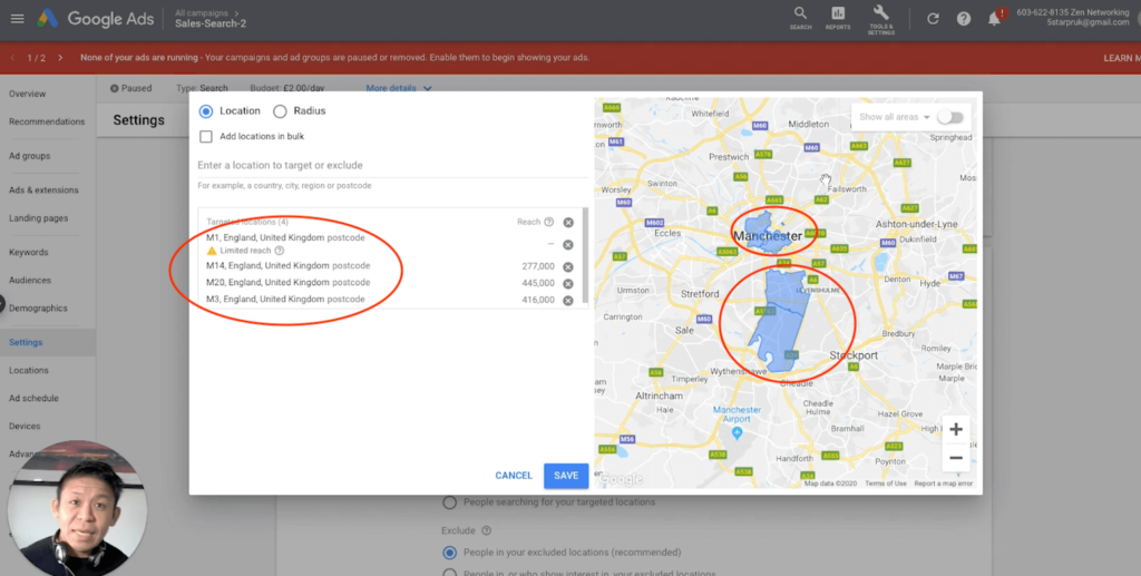 Google Ads Setting Editing Location Settings, targeting by multiple postcode or zip code