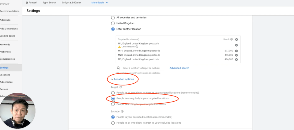 Google Ads Setting Editing Location Settings, location options, people in or regularly in your location