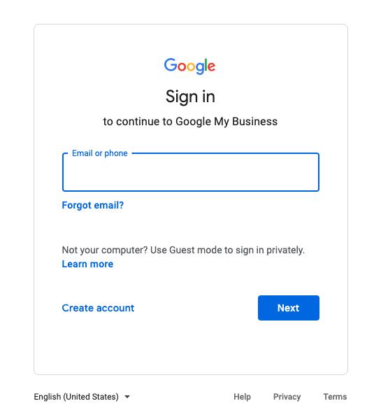 Google my business listing login